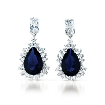 CZ Collections Cubic Zirconia Sapphire Drop Earrings