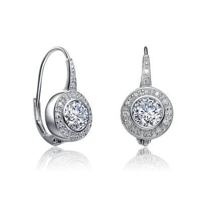 Round Bezel and Pave Set Cubic Zirconia Diamond Euro Wire Earrings