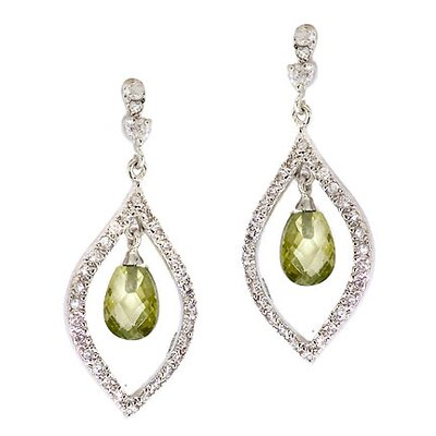 CZ Collections Briolette Olive Quartz Cubic Zirconia Diamond Marquise Drop Earrings