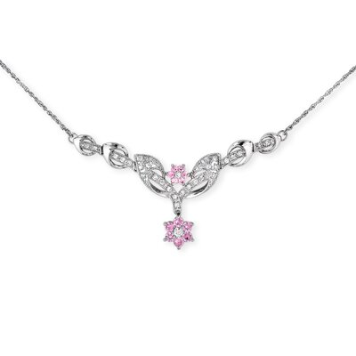 CZ Collections Flower Simulated Sterling Silver Sapphire Diamond Necklace