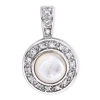 Iridescent Mother Of Pearl Cabochon Cubic Zirconia Diamond Circle Pendant
