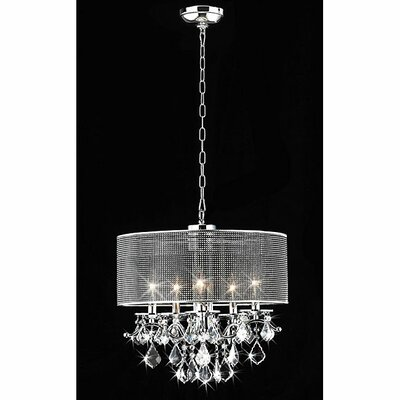 5 Light Crystal Drum Foyer Pendant