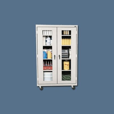 "Sandusky Cabinets Transport Clear View Four Shelf Large Mobile Storage - 78"" x 36"" x 18"""