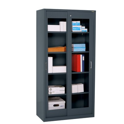 Sandusky Cabinets Clearview Tall Storage Cabinet with Sliding Clear Doors