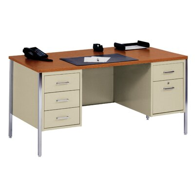 "Sandusky Cabinets 60"" W Double Pedestal Executive Desk with File Drawer"