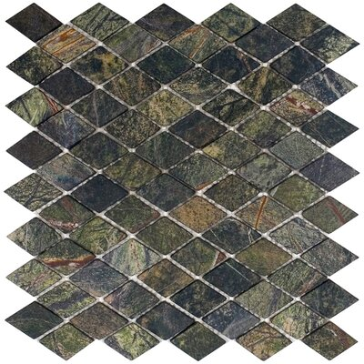 Epoch Architectural Surfaces Tumbled Marble Diamond Mosaic in Rain Forest Green