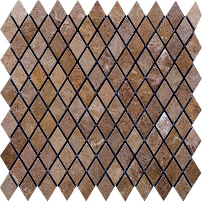"Epoch Architectural Surfaces Noce 12"" x 12"" Tumbled Travertine Diamond Mosaic in Brown"
