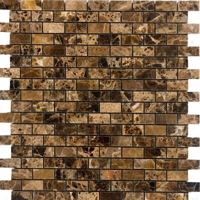 "Epoch Architectural Surfaces 12"" x 12"" Polished Marble Mosaic in Emperador Dark"