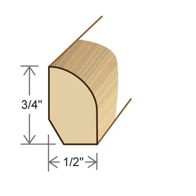 "Moldings Online 0.5"" x 0.75"" Solid Hardwood Bamboo Natural Strand Base Shoe in Unfinished"