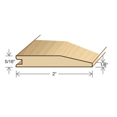 "Moldings Online 0.51"" x 2"" Solid Hardwood Birch Reducer in Unfinished"