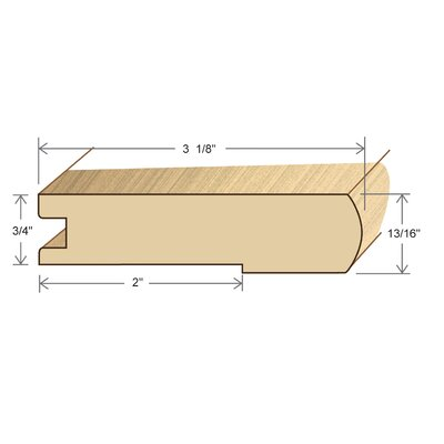 "Moldings Online 0.81"" x 3.13"" Solid Hardwood Kempas Stair Nose in Unfinished"