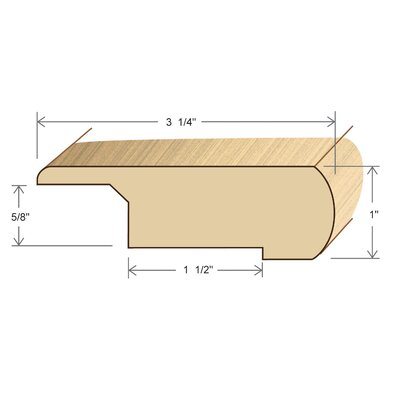 "Moldings Online 1"" x 3.25"" Solid Hardwood Elm Stair Nose Overlap in Unfinished"