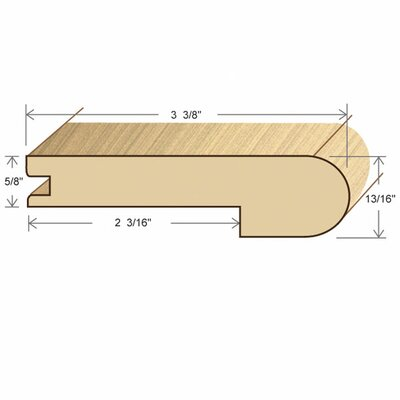 "Moldings Online 78"" Solid Hardwood Unfinished Beech Stair Nose for 5/8"" Floors"
