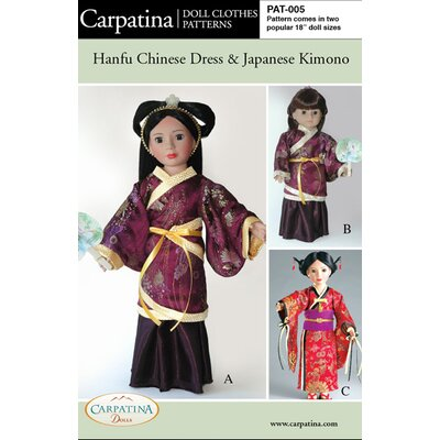Carpatina Clothes Pattern Doll Hanfu Chinese Dress and Japanese Kimono