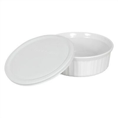 Corningware French White 24 oz. Round Dish with Plastic Cover