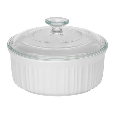 French White 1 1/2-Qt. Round Casserole