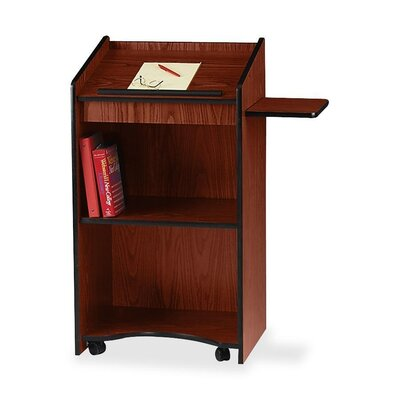 "Oklahoma Sound Corporation Floor Lectern/AV Stand, 25""x20""x46"", Medium Oak/Mahogany"