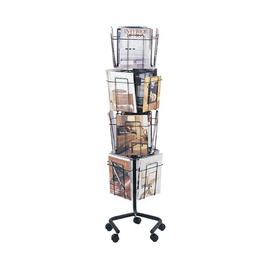 Safco Products Company Wire Rotary Display Racks, 16 Compartments