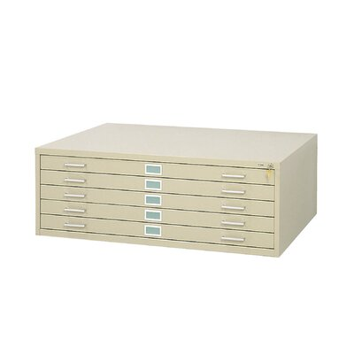 "Safco Products Company 53.5"" W Five-Drawer Steel Flat File with Optional Closed Base"