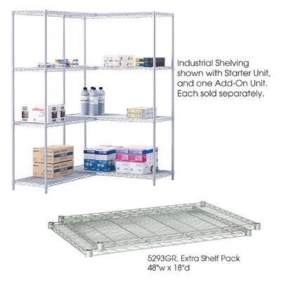 "Safco Products Company Industrial Wire Extra Shelves (18"" x 48"" Shelves)"