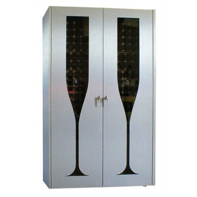 Vinotemp 440 Brushed Aluminum Champagne Glass Design Wine Cooler Cabinet