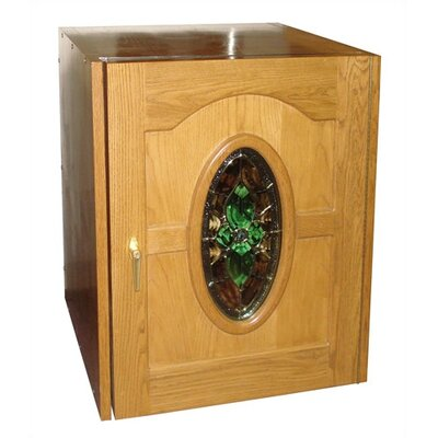 Vinotemp Napoleon Single Door Oak Wine Cooler with Beveled Oval Glass Window