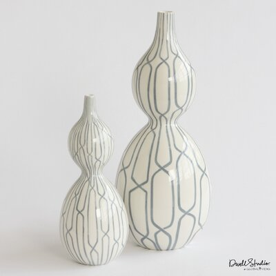 DwellStudio Linking Trellis Double Bulb Vase in Blue