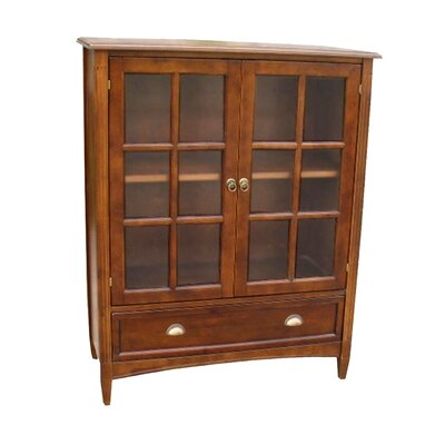 Wayborn Traditional Bookcase with Glass Door in Brown