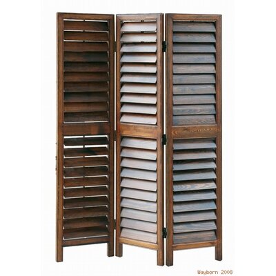 Shutter Style 3 Panel Room Divider in Brown