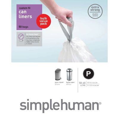simplehuman Trash Can Liner (50 Count) 50-60 liters