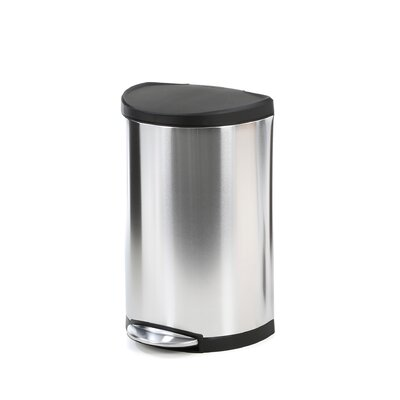 simplehuman Semi-Round Step Trash Can with Plastic Lid