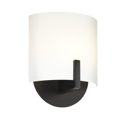 "Sonneman Scudo 7"" One Light Wall Sconce with White Etched Glass Shade in Black Bronze"