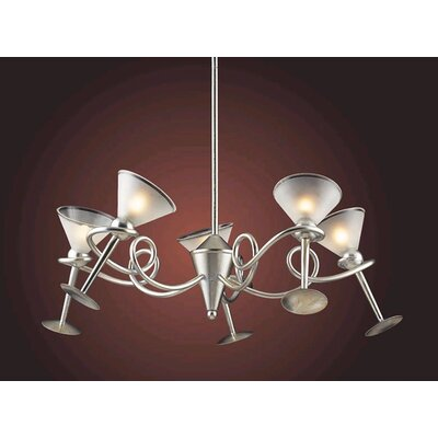 Elk Lighting Martini Glass 5 Light Chandelier