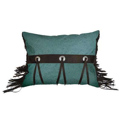 HiEnd Accents Cheyenne Faux Tooled Leather Pillow with Conchos in Turquoise