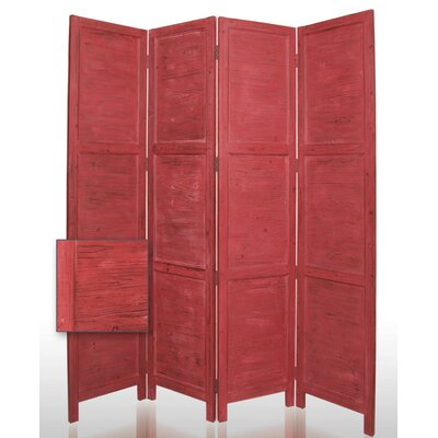"Screen Gems 84"" Nantucket Painted Room Divider in Red"