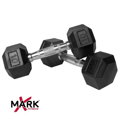 X-Mark Pair of 10 lb. Rubber Hex Dumbbells