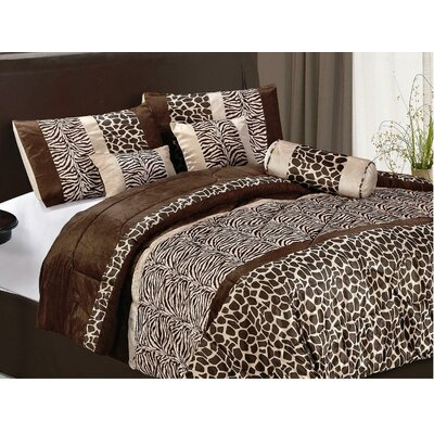 LaCozee Safari Micro Fur Bed in a Bag Set in Brown