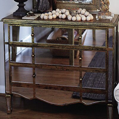 Creative Co-Op Wood and Glass Mirrored Chest
