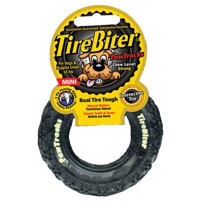 Tire Biter Paw Track Dog Toy in Black