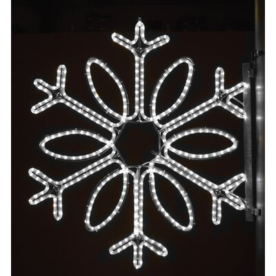 "Holiday Lighting Specialists 36"" Pole Decoration Single Loop Snowflake in Pure White"