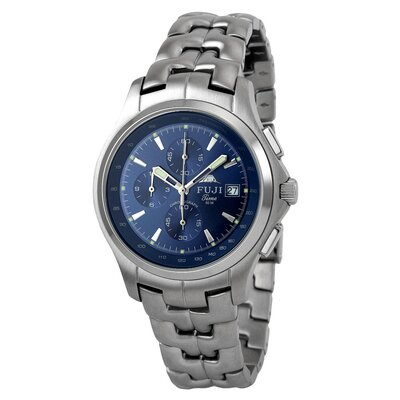 Fuji Time Men's Kannoji Watch in Silver with Blue Sub-Dial