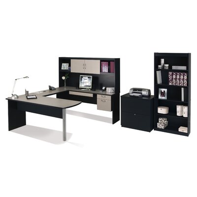 Bestar In Space U-Shape Desk with Hutch and Optional File and Bookcase