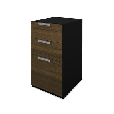 Bestar Pro-Concept Pedestal in Milk Chocolate Bamboo and Black