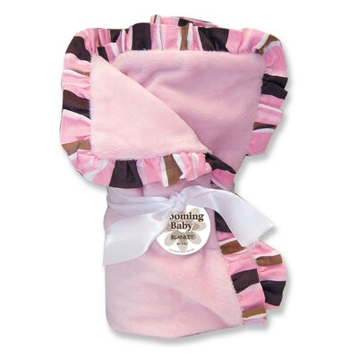 Trend Lab Maya Velour Baby Blanket in Pink with Striped Trim