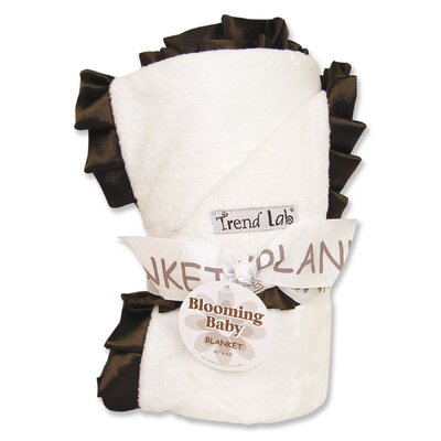 Trend Lab Ruffle Receiving Blanket in White and Brown