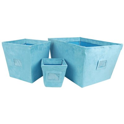 Trend Lab Groovy Love 3 Piece Fabric Storage Bin Set in Turquoise