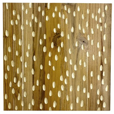 RS Furnishings Pura Vida I Rain Drop Teak Panel in Natural with Gold Drops