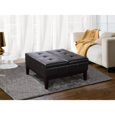 Dover Square Leather Coffee Table Ottoman with Split Lift Up Lid