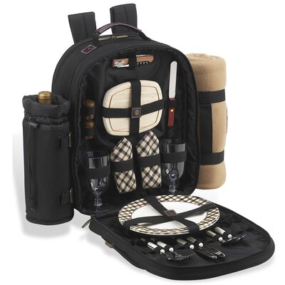 Picnic At Ascot London Backpack with Blanket and Two Place Settings