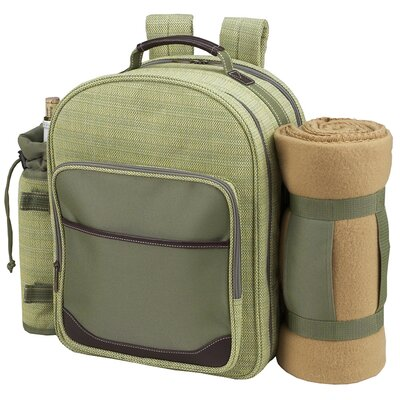 Picnic At Ascot Hamptons Backpack with Blanket and Four Place Settings